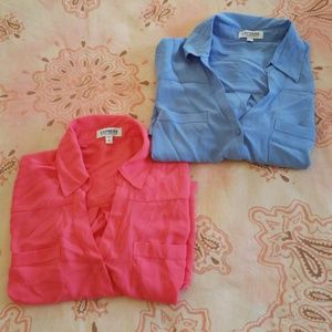 Bundle of 2 Express Button Down Tops(pink & blue)